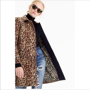 NWT. J. Crew animal print wool coat